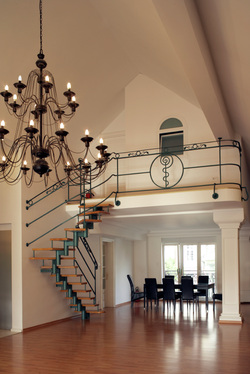 custom ornamental spindle design iron handrails